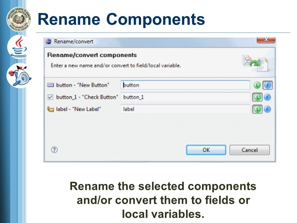 Rename Components Rename the selected components and/or convert them to fields or local variables.