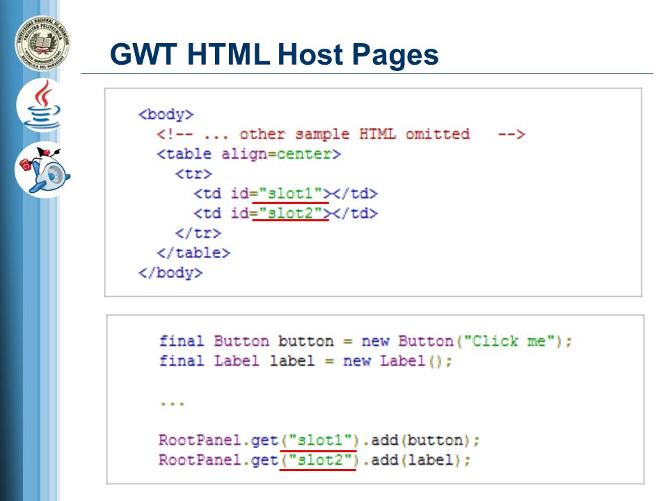 GWT HTML Host Pages