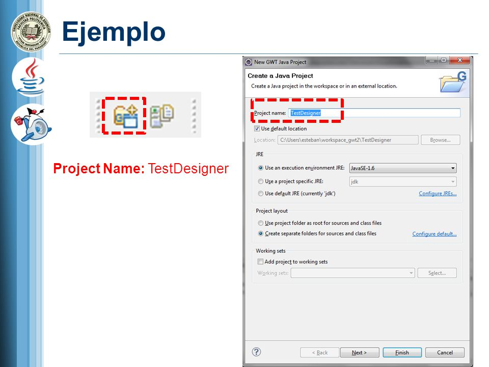 Ejemplo Project Name: TestDesigner