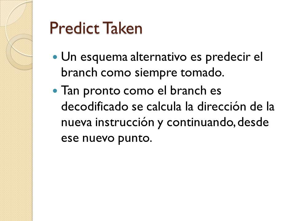 Predict Taken Un esquema alternativo es predecir el branch como siempre tomado.