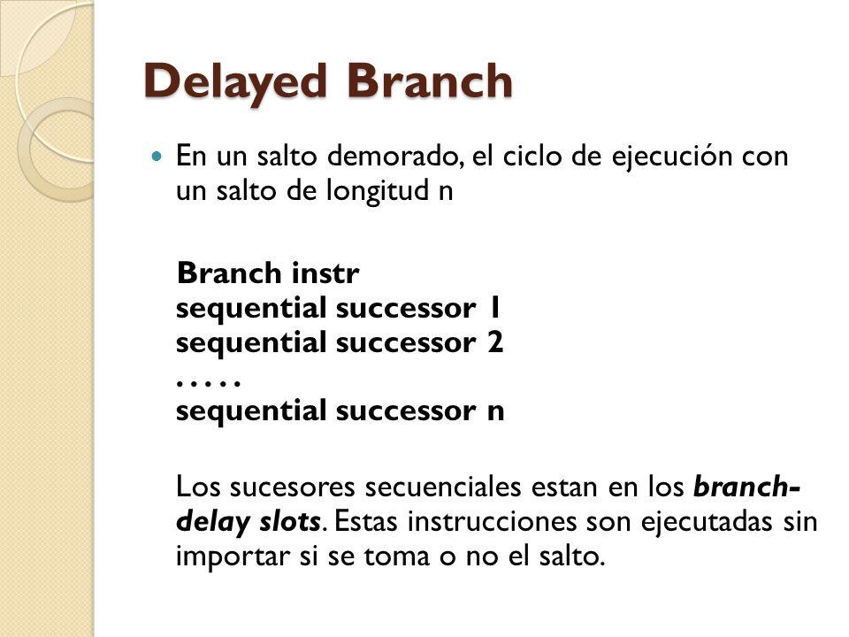 Delayed Branch En un salto demorado, el ciclo de ejecución con un salto de longitud n.