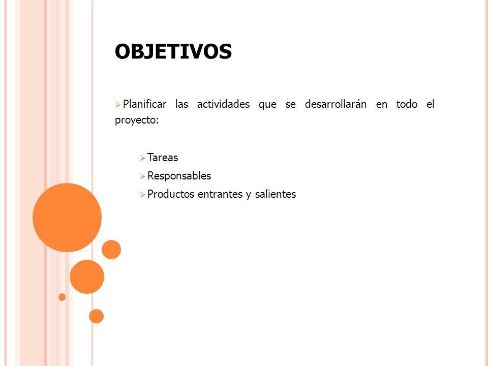 OBJETIVOS Planificar las actividades que se desarrollarán en todo el proyecto: Tareas. Responsables.