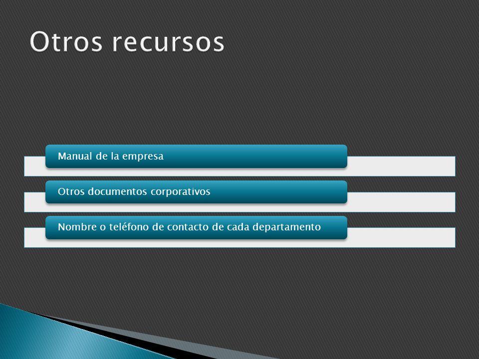 Otros recursos Manual de la empresa Otros documentos corporativos