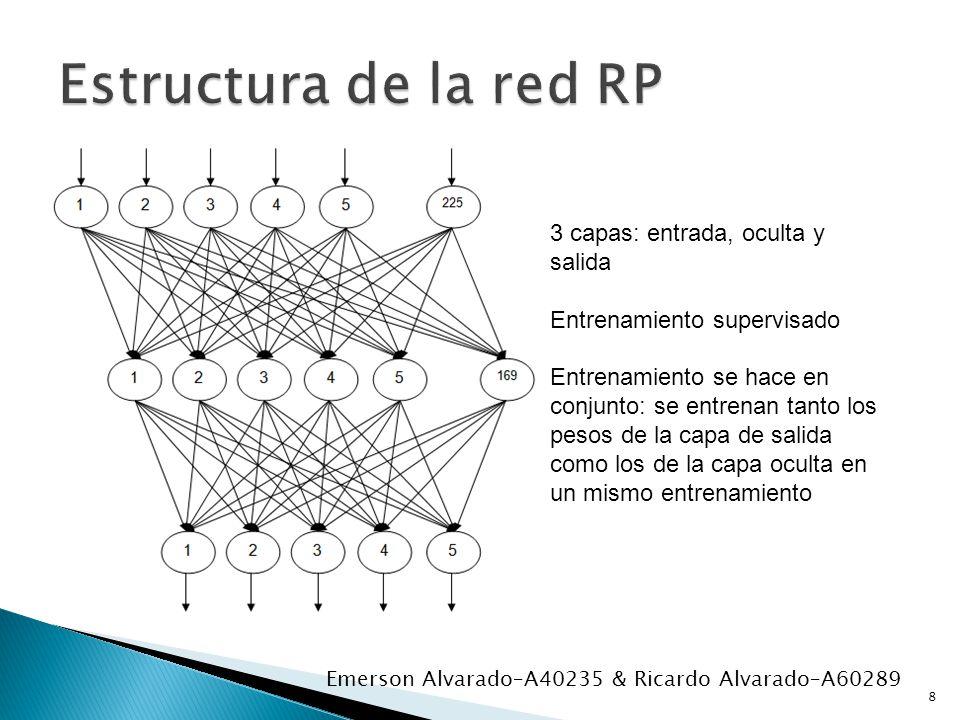 Estructura de la red RP 3 capas: entrada, oculta y salida