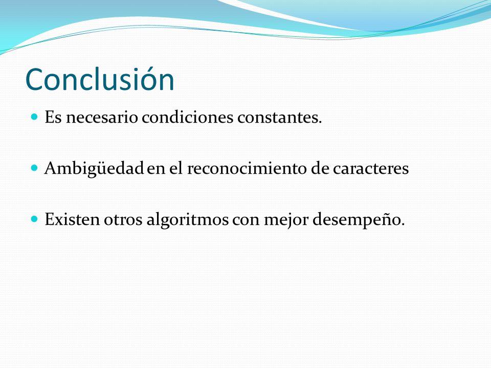 Conclusión Es necesario condiciones constantes.
