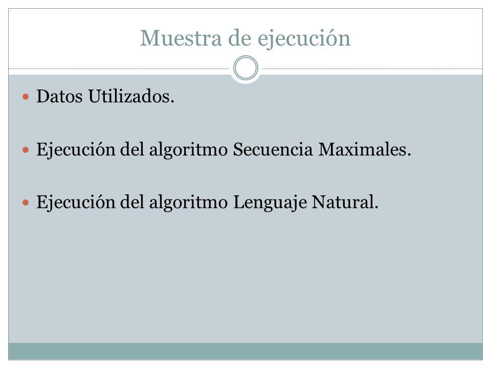 Muestra de ejecución Datos Utilizados.