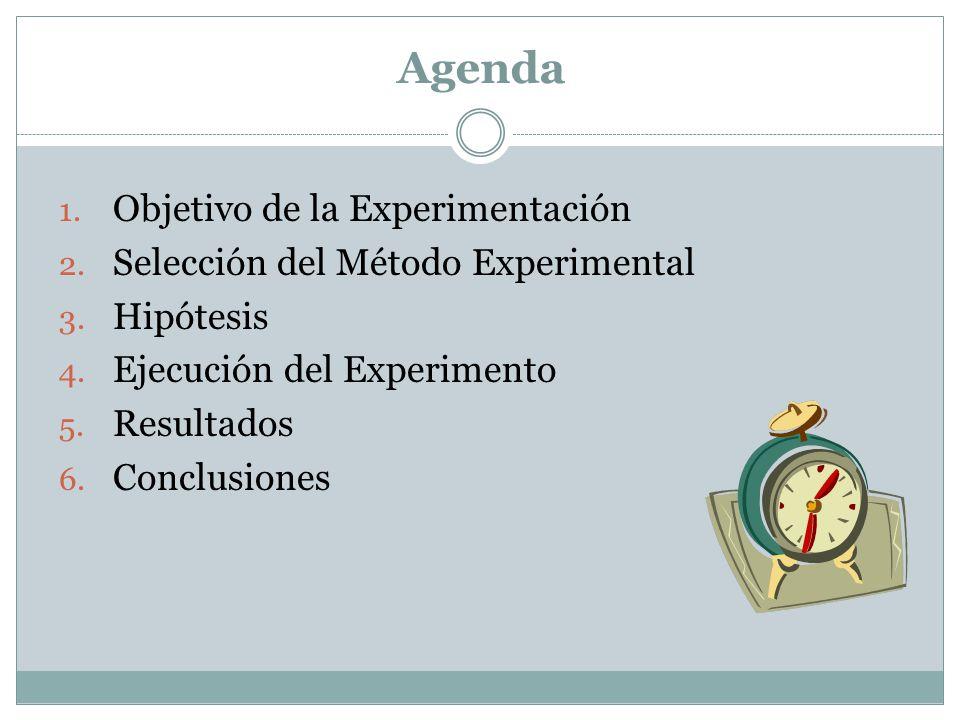 Agenda Objetivo de la Experimentación