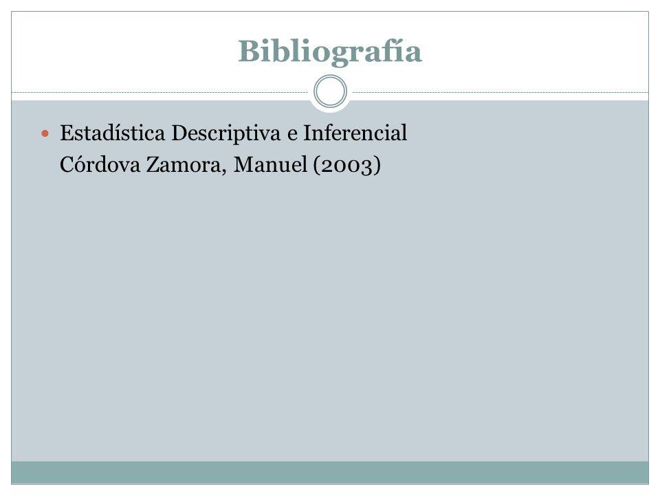 Bibliografía Estadística Descriptiva e Inferencial