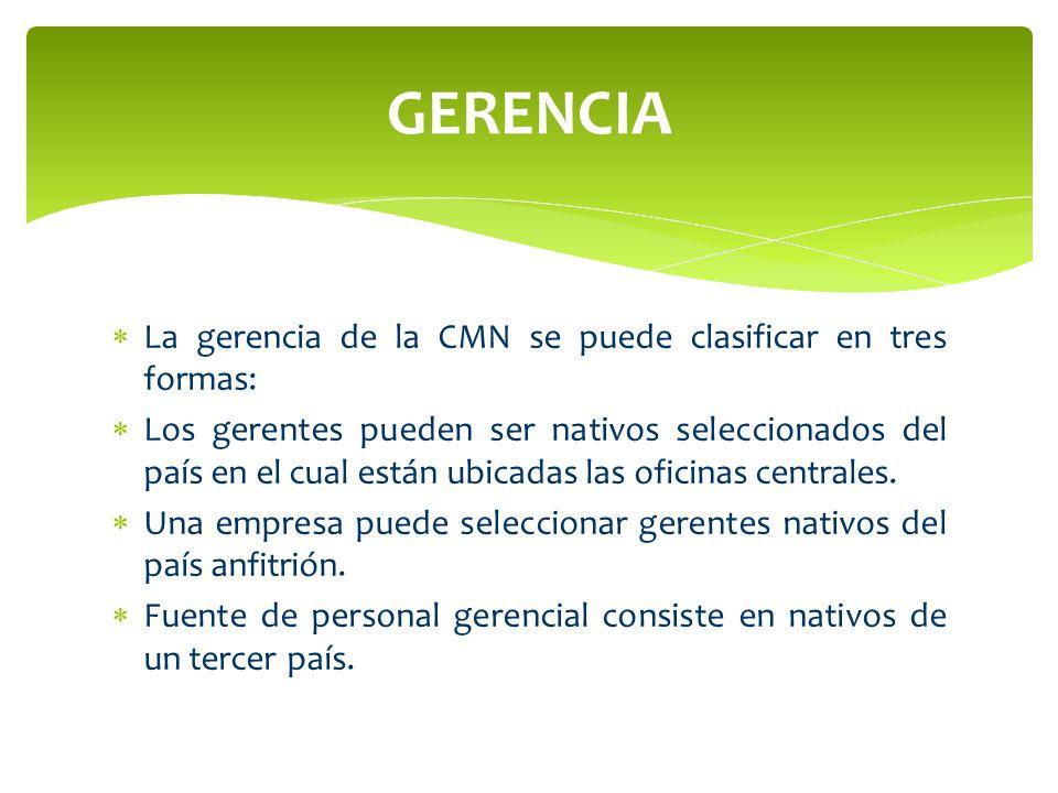 GERENCIA La gerencia de la CMN se puede clasificar en tres formas: