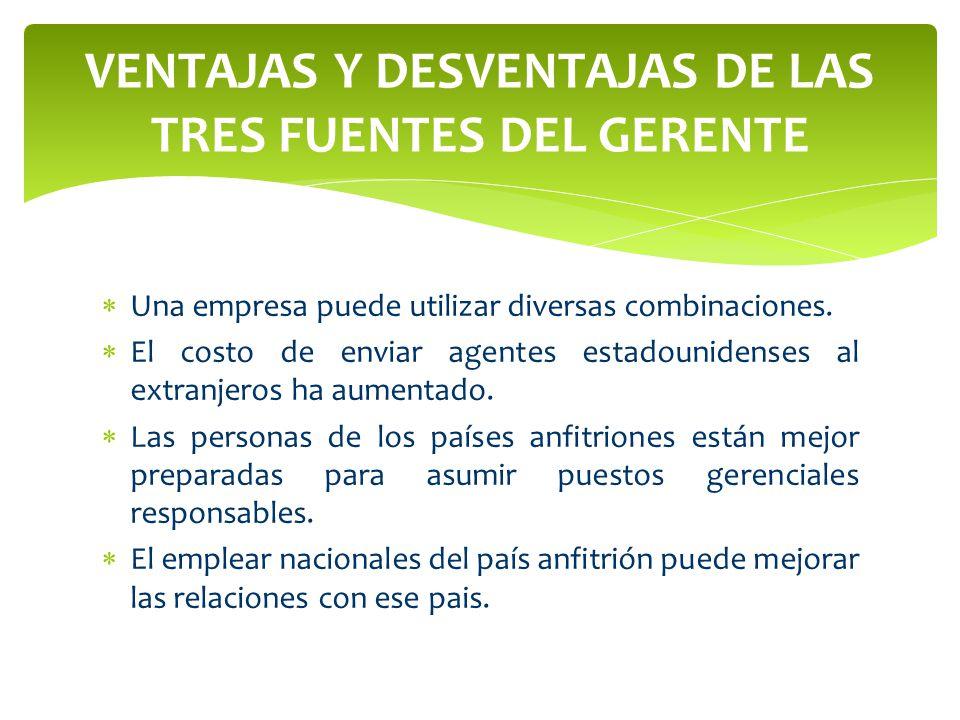 VENTAJAS Y DESVENTAJAS DE LAS TRES FUENTES DEL GERENTE