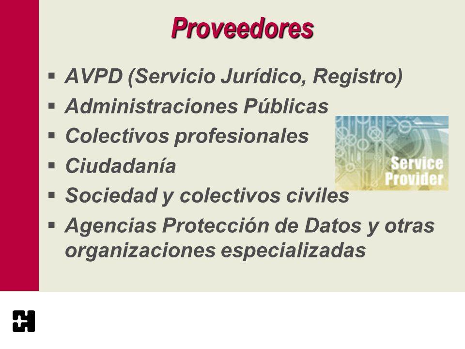 Proveedores AVPD (Servicio Jurídico, Registro)