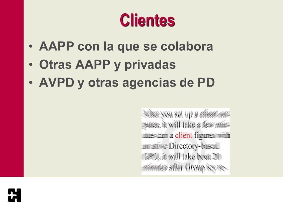 Clientes AAPP con la que se colabora Otras AAPP y privadas