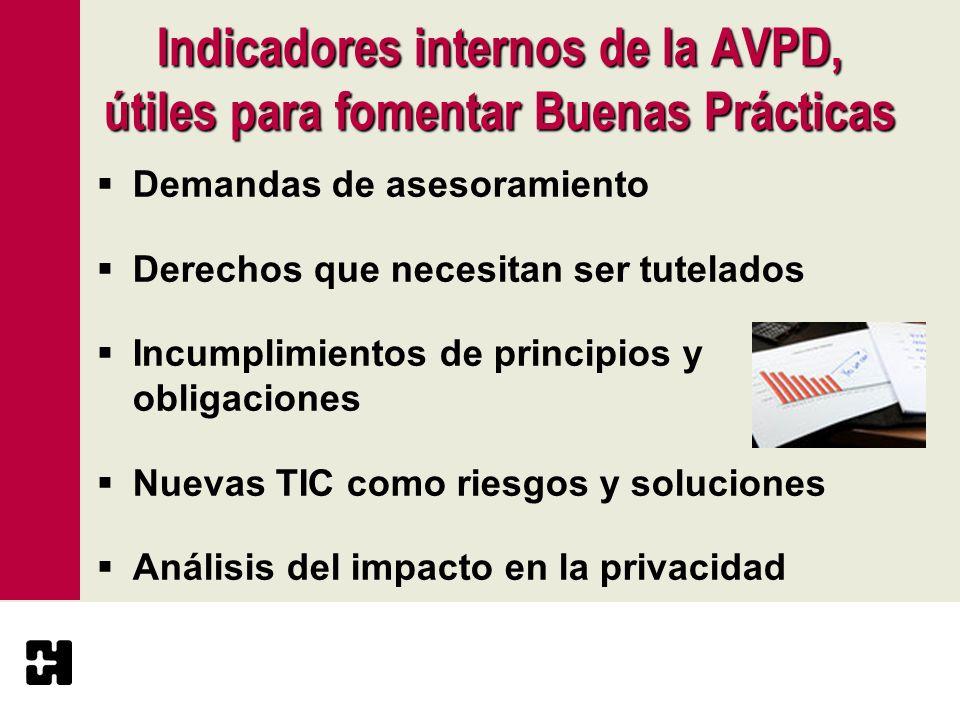 Indicadores internos de la AVPD, útiles para fomentar Buenas Prácticas