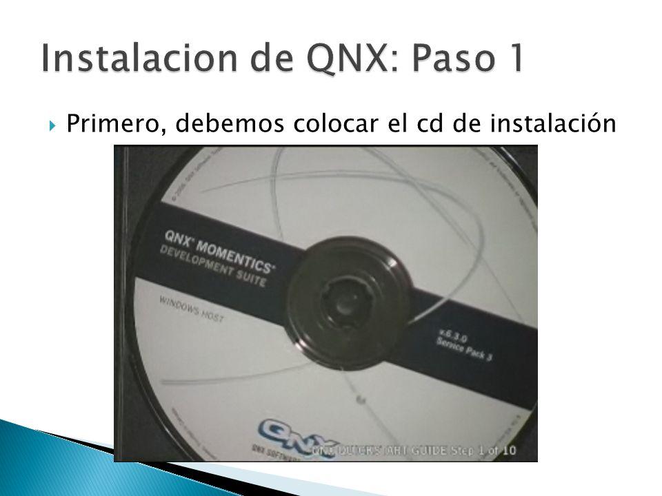 Instalacion de QNX: Paso 1