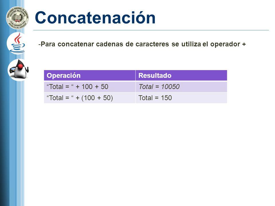 Concatenación Para concatenar cadenas de caracteres se utiliza el operador + Operación. Resultado.