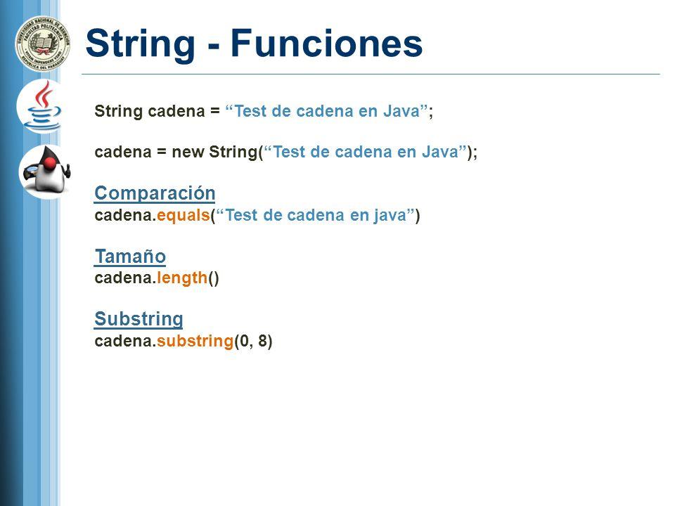 String - Funciones Comparación Tamaño Substring