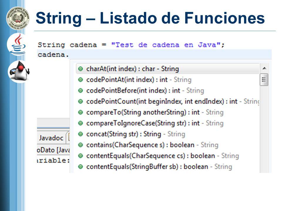 String – Listado de Funciones