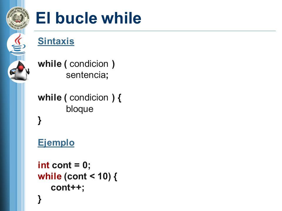 El bucle while Sintaxis while ( condicion ) sentencia;