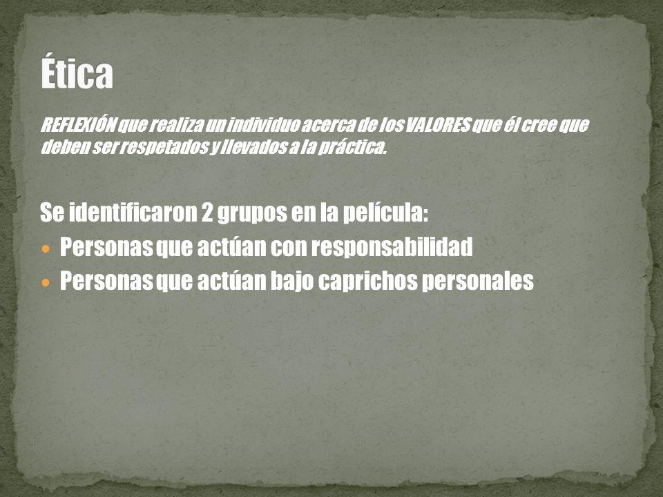 Ética Se identificaron 2 grupos en la película: