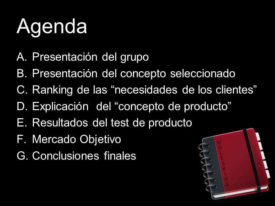 Agenda Presentación del grupo Presentación del concepto seleccionado