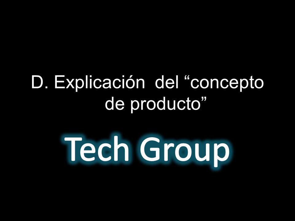 D. Explicación del concepto de producto