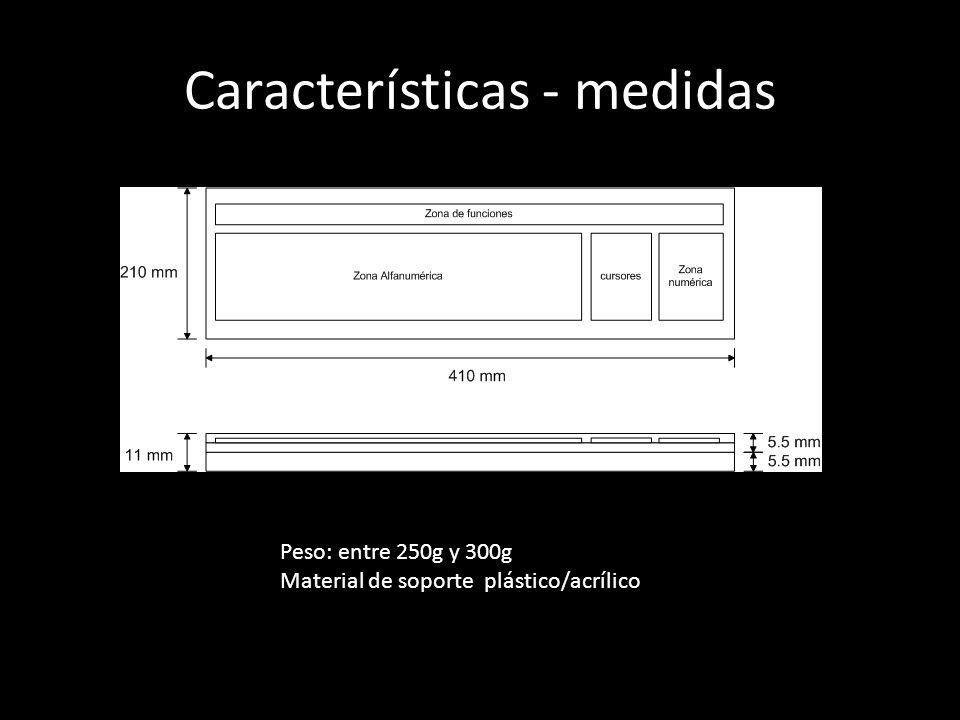 Características - medidas