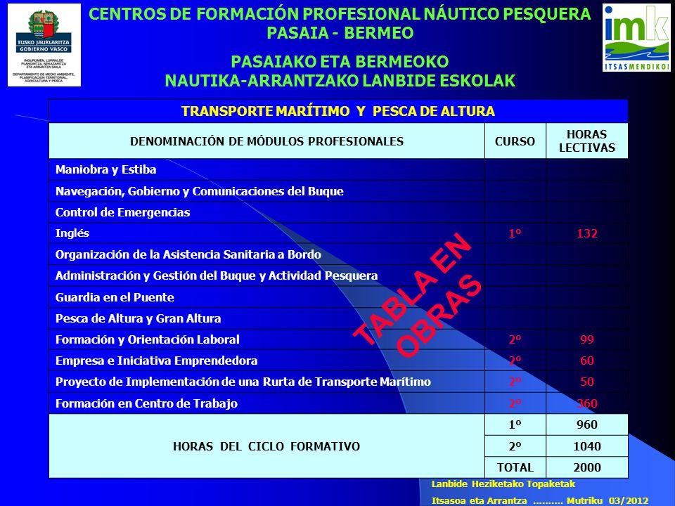 CENTROS DE FORMACIÓN PROFESIONAL NÁUTICO PESQUERA PASAIA - BERMEO
