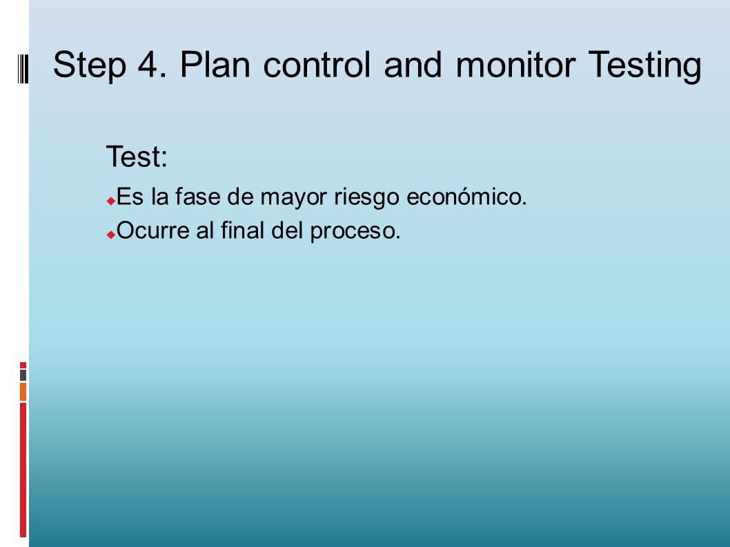 Step 4. Plan control and monitor Testing