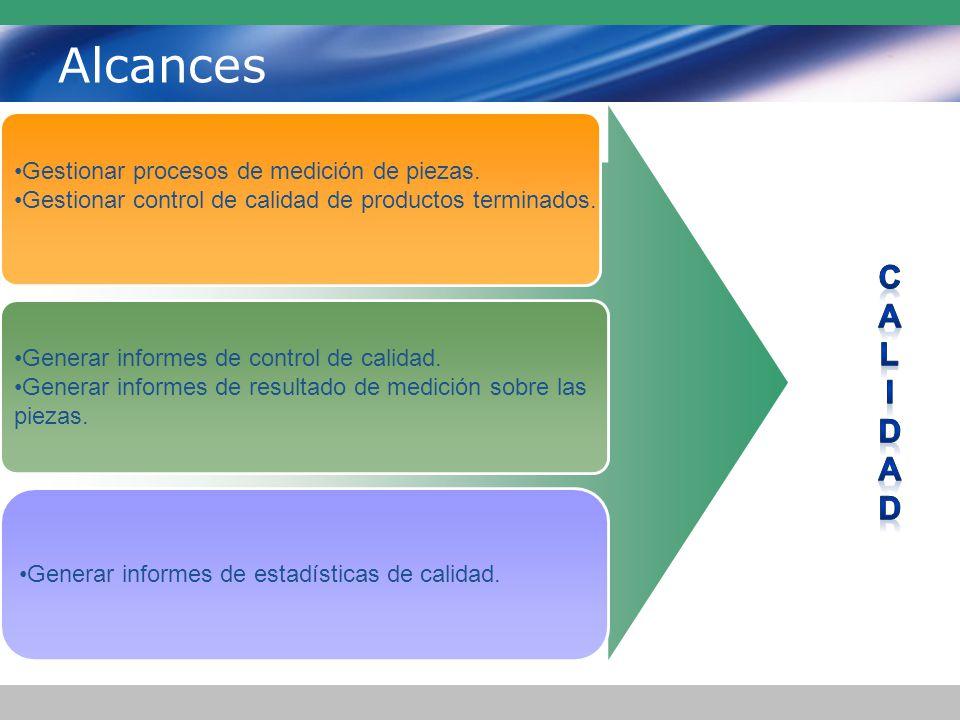 Alcances C A L I D d Gestionar procesos de medición de piezas.