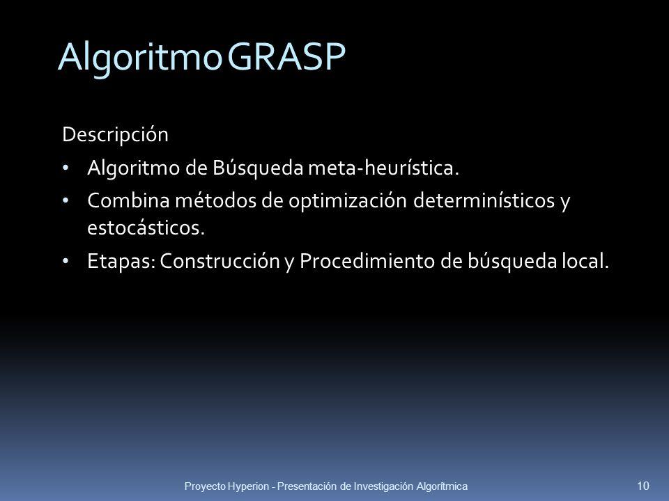 Algoritmo GRASP Descripción Algoritmo de Búsqueda meta-heurística.