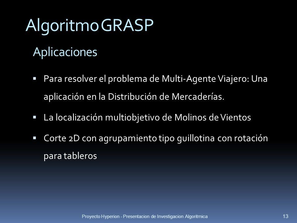 Algoritmo GRASP Aplicaciones