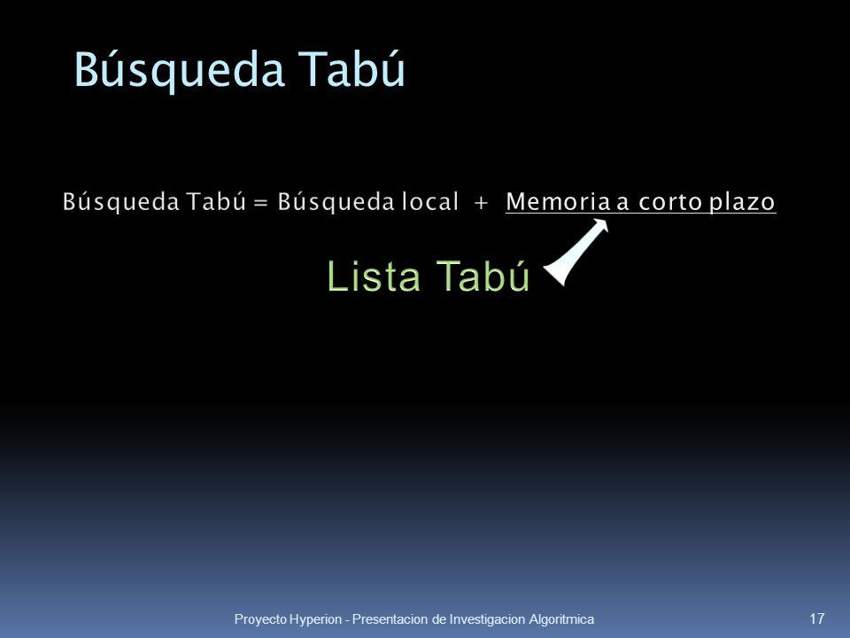 Búsqueda Tabú = Búsqueda local + Memoria a corto plazo