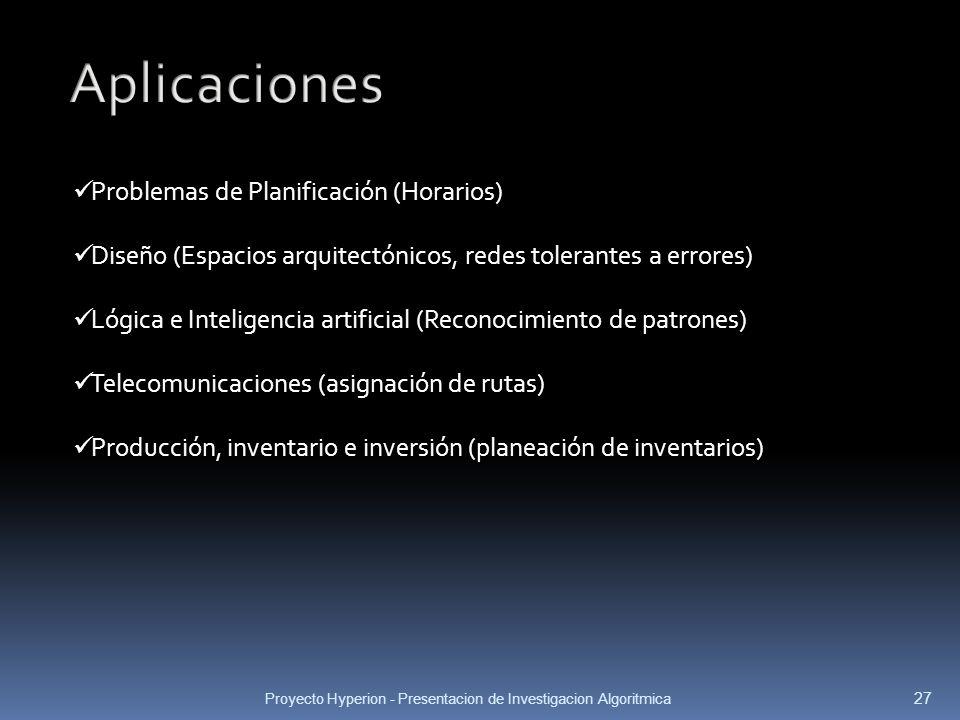Aplicaciones Problemas de Planificación (Horarios)