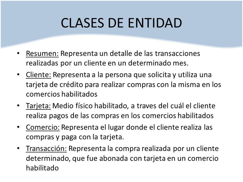 CLASES DE ENTIDAD Resumen: Representa un detalle de las transacciones realizadas por un cliente en un determinado mes.