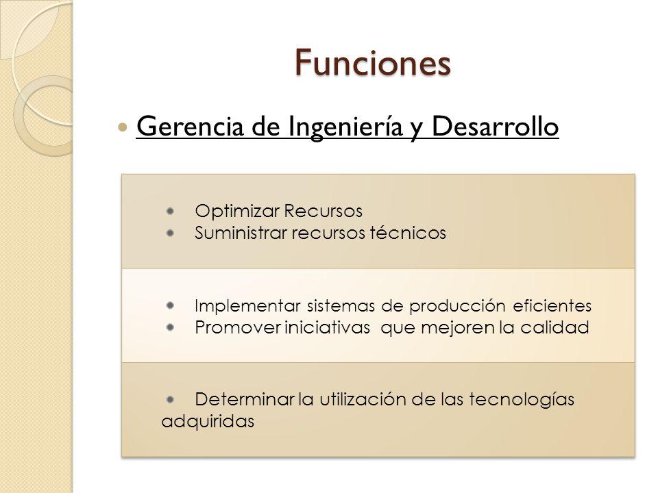 Funciones Gerencia de Ingeniería y Desarrollo Optimizar Recursos