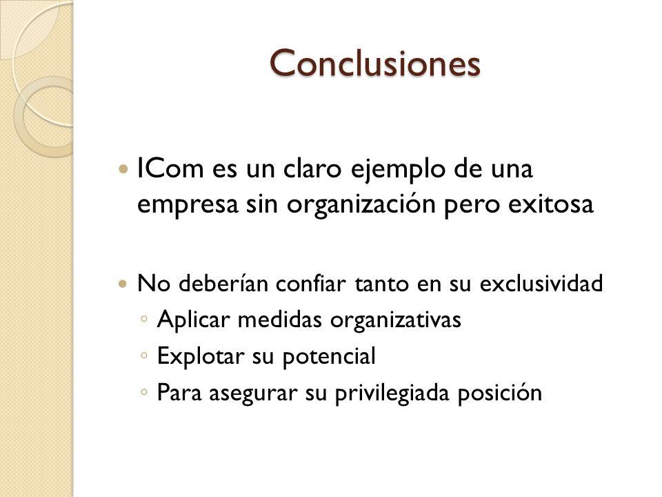 Conclusiones ICom es un claro ejemplo de una empresa sin organización pero exitosa. No deberían confiar tanto en su exclusividad.