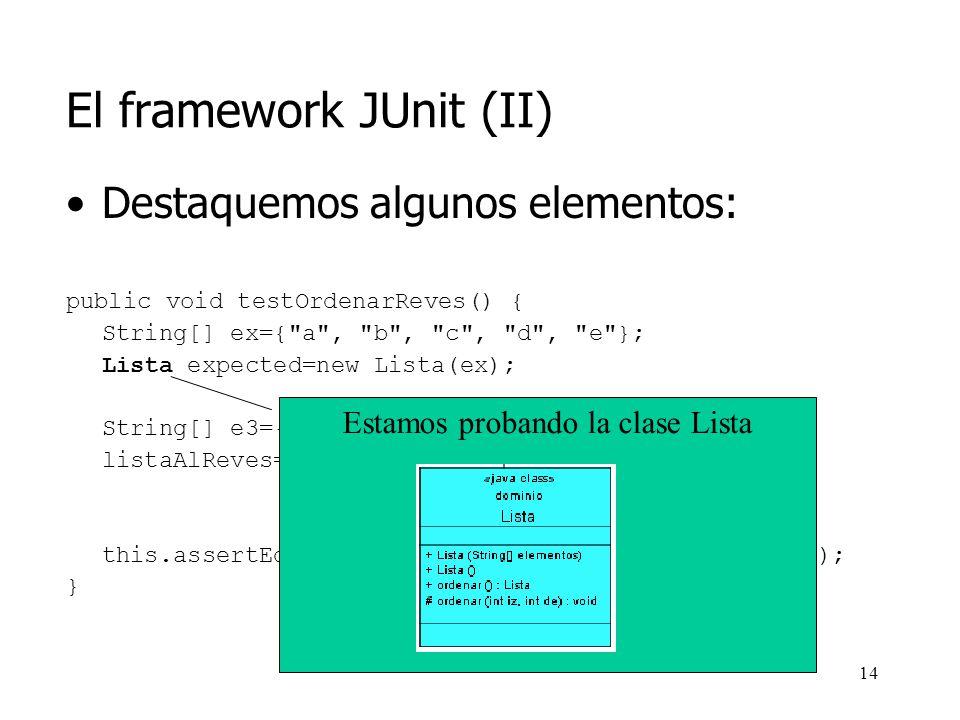 El framework JUnit (II)