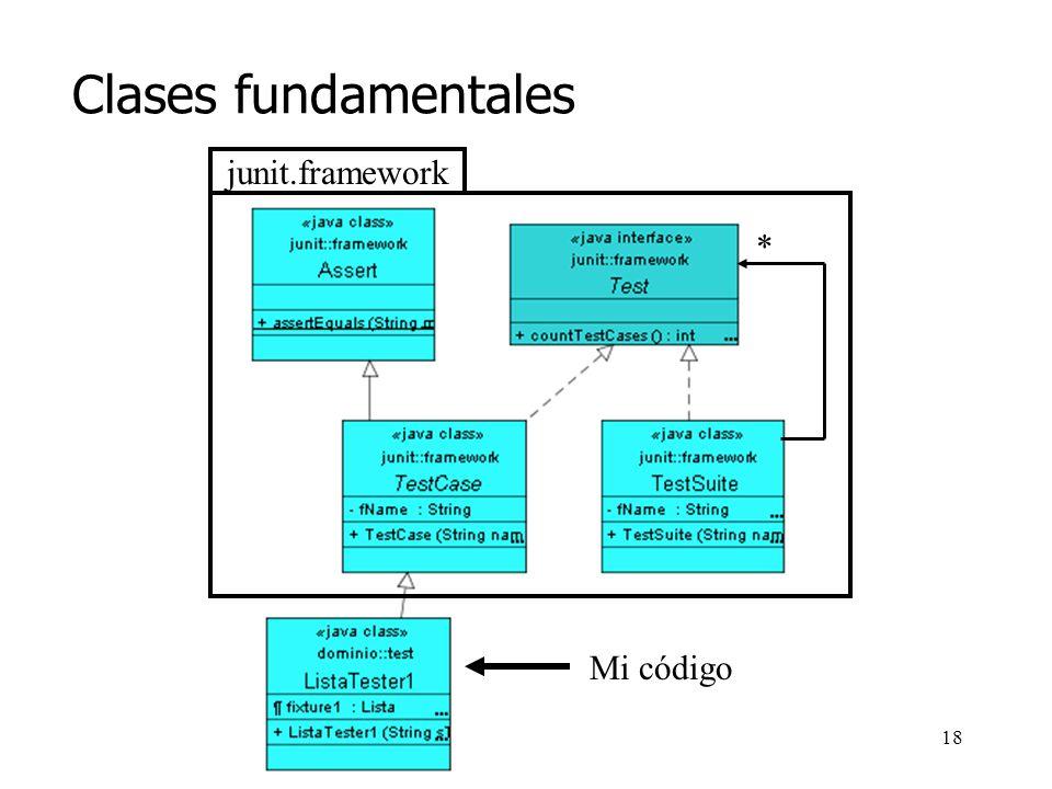 Clases fundamentales junit.framework * Mi código