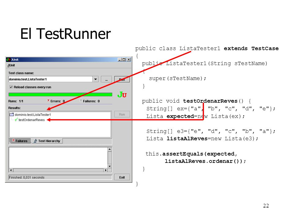 El TestRunner public class ListaTester1 extends TestCase {