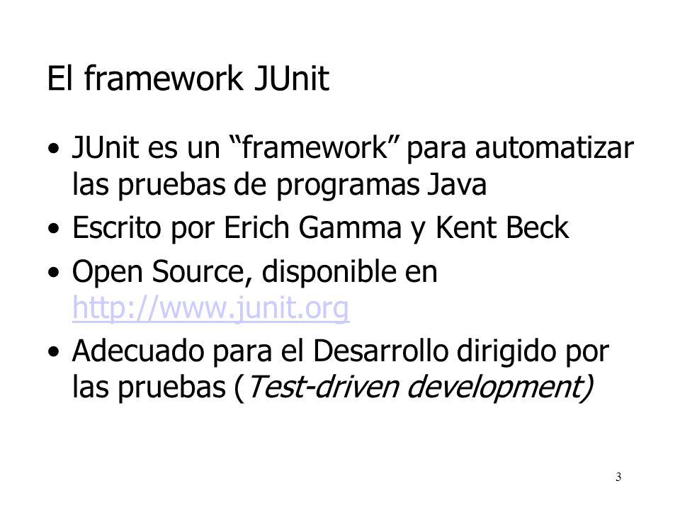 El framework JUnit JUnit es un framework para automatizar las pruebas de programas Java. Escrito por Erich Gamma y Kent Beck.