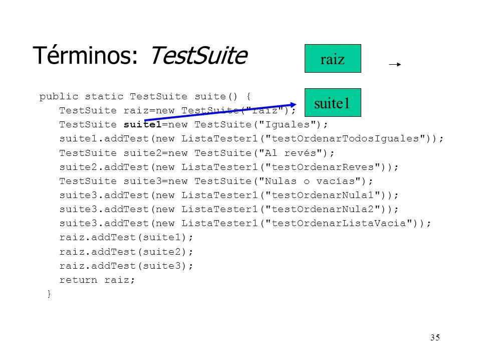 Términos: TestSuite raiz suite1 public static TestSuite suite() {