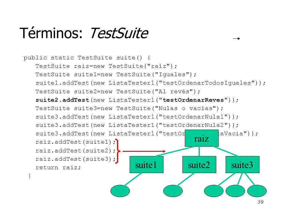 Términos: TestSuite raiz suite1 suite2 suite3