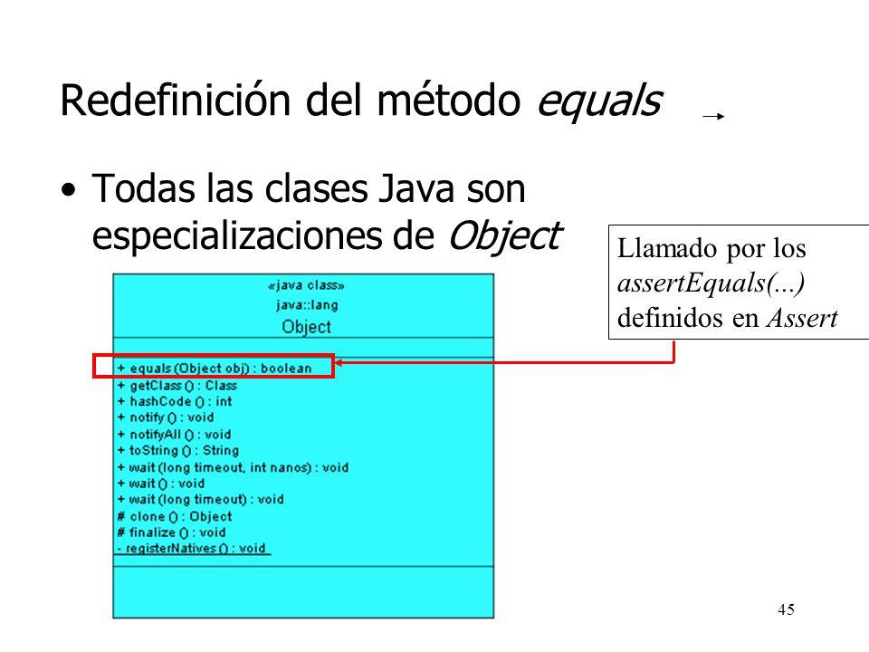 Redefinición del método equals