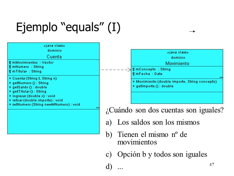 Ejemplo equals (I) ¿Cuándo son dos cuentas son iguales