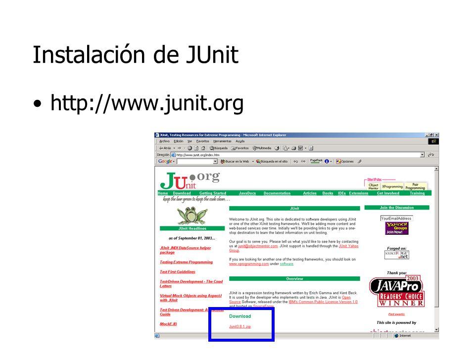 Instalación de JUnit http://www.junit.org