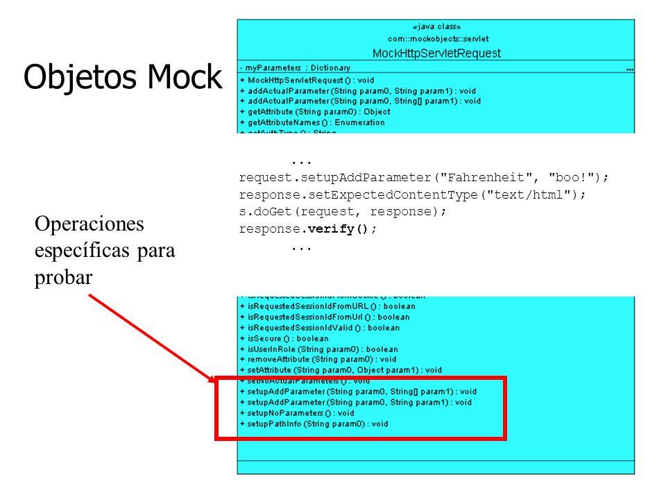Objetos Mock Operaciones específicas para probar ...