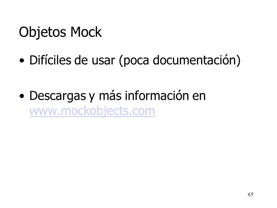 Objetos Mock Difíciles de usar (poca documentación)