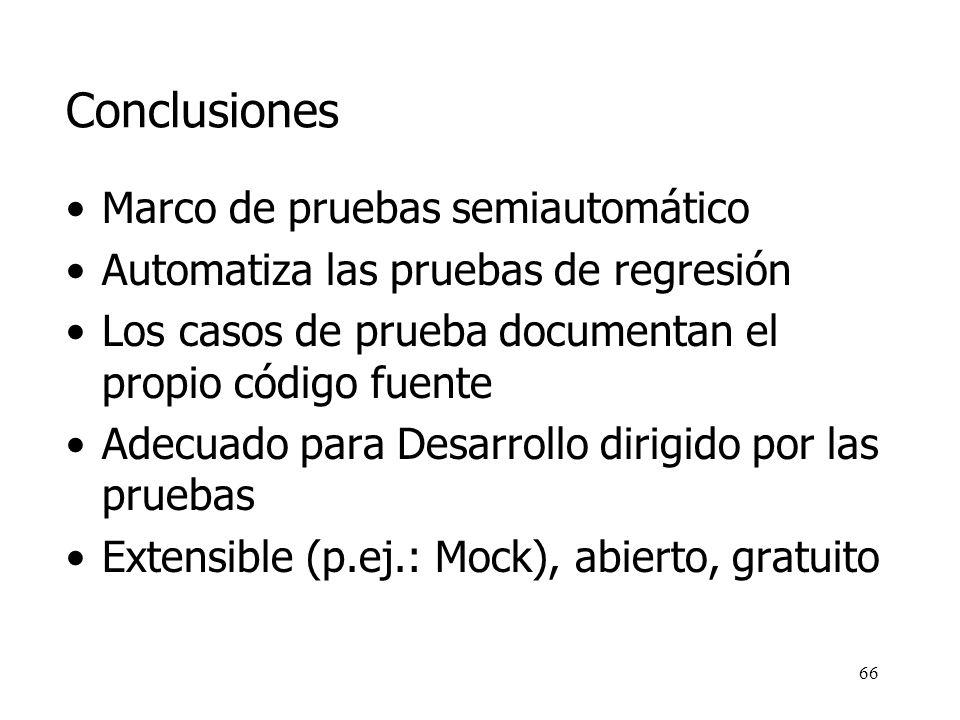 Conclusiones Marco de pruebas semiautomático