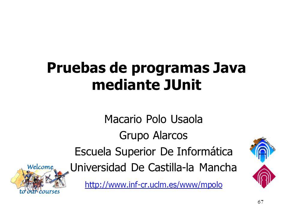 Pruebas de programas Java mediante JUnit