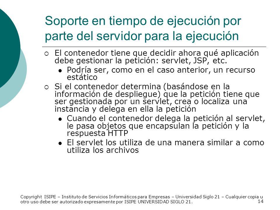 Soporte en tiempo de ejecución por parte del servidor para la ejecución